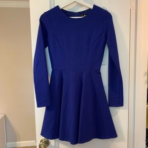Lulu's Royal Blue Fit-and-Flare Long Sleeved Dress